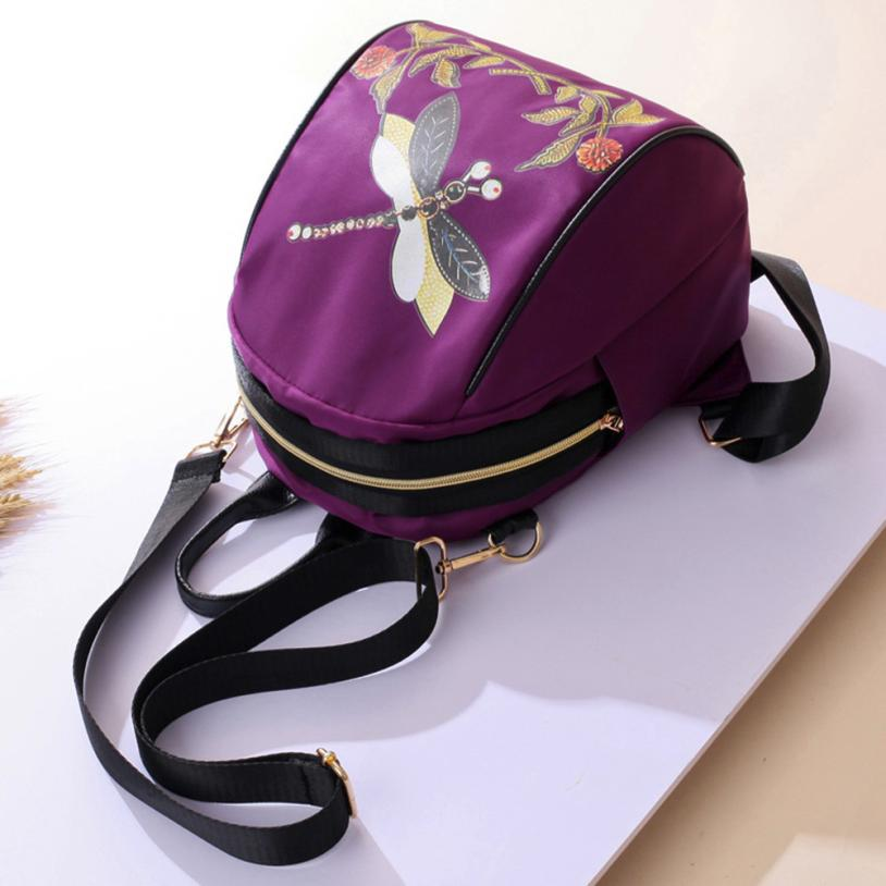 Latest Women's Fashion Chinese Style Printed Backpack Ms. Leather Mini Flower Schoolbag #f