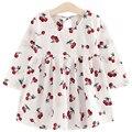Long Sleeve Cotton Girl Dresses Printed Cherry Princess Little Girls Dresses Cute Kids Clothes Robe Fille Enfant 161223