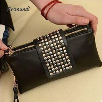 Bolso de mano de noche Arsmundi 2018, nuevo bolso de fiesta para mujer, billetera de remaches de cuero, bolso de mano personalizado a la moda