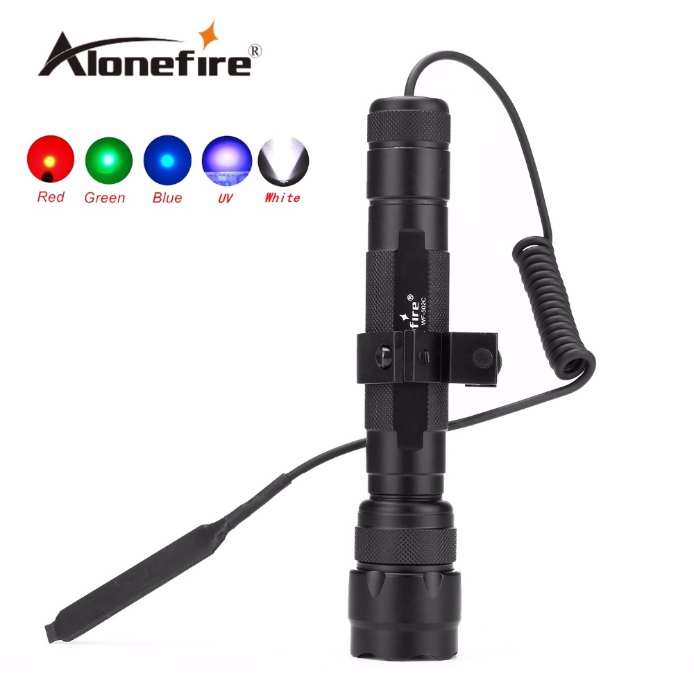 AloneFire 502C 1set LED Tactical Flashlight Torch Hunting Light with gun scope mounts and remote pressure switch