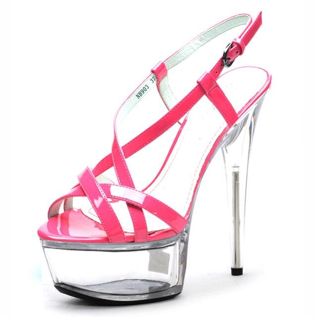 e6eb9b63b LAIJIANJINXIA 15 cm Sexy Plataformas Super Salto Alto Cristal Sandálias 6  polegada mulheres verão sapatos Dançarina