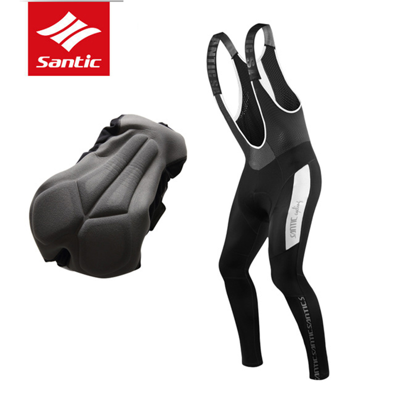 Santic Cycling Bib Pants 2017 Men Winter Fleece Thermal 4D Padded Warm MTB Bike Bicycle Bib Pants Tight Biking Cycle Wear Tights
