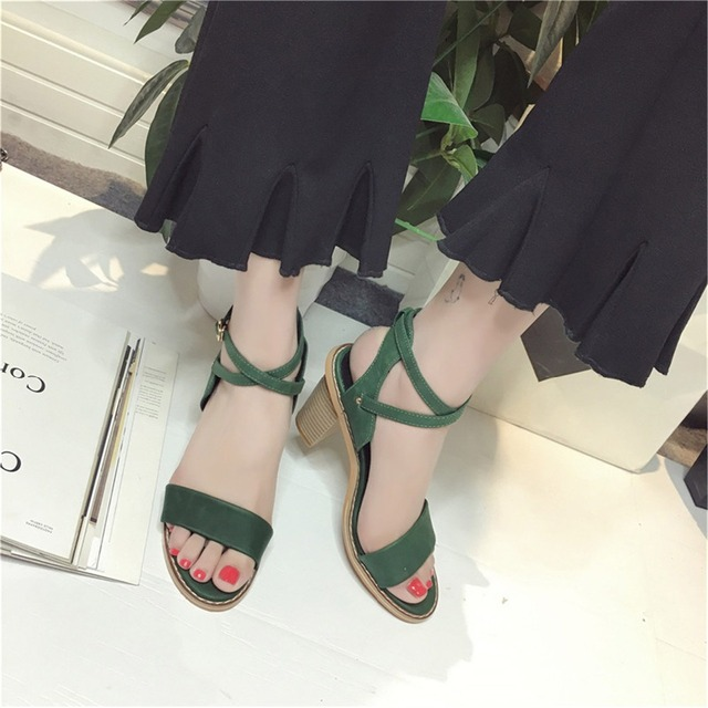 2fccc8277 2017 New Arrival Fashion Summer Women Shoes Lady Leisure Sandal Gladiator  Green All-match Buckle Peep Toe Thick Heels Gray Flock