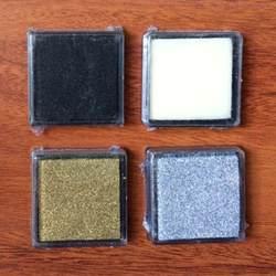 Шт. 4 шт. чернильный коврик ---- черный и белый и золотой и серебряный цвет DIY Скрапбукинг чернильный коврик набор водяных цветных красок