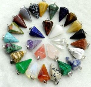 wholesale Natural stone Quartz Crystal Turquoises Opal tiger eye beads pendant Pendulum for diy Jewelry making Necklaces 12pcs