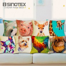 Nordic Fashion Throw Pillow Cushion Cover Home Decor Sofa Bed Cute Animal Printed Linen Square Cushion