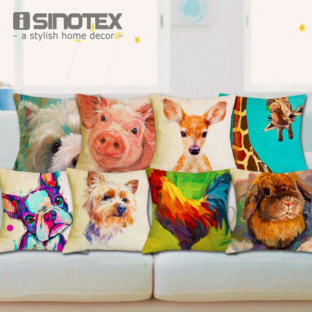 Nordic Fashion Throw Pillow Cushion Cover Home Decor Sofa Bed Cute Animal Printed Linen Square Cushion Cojines Almohadas