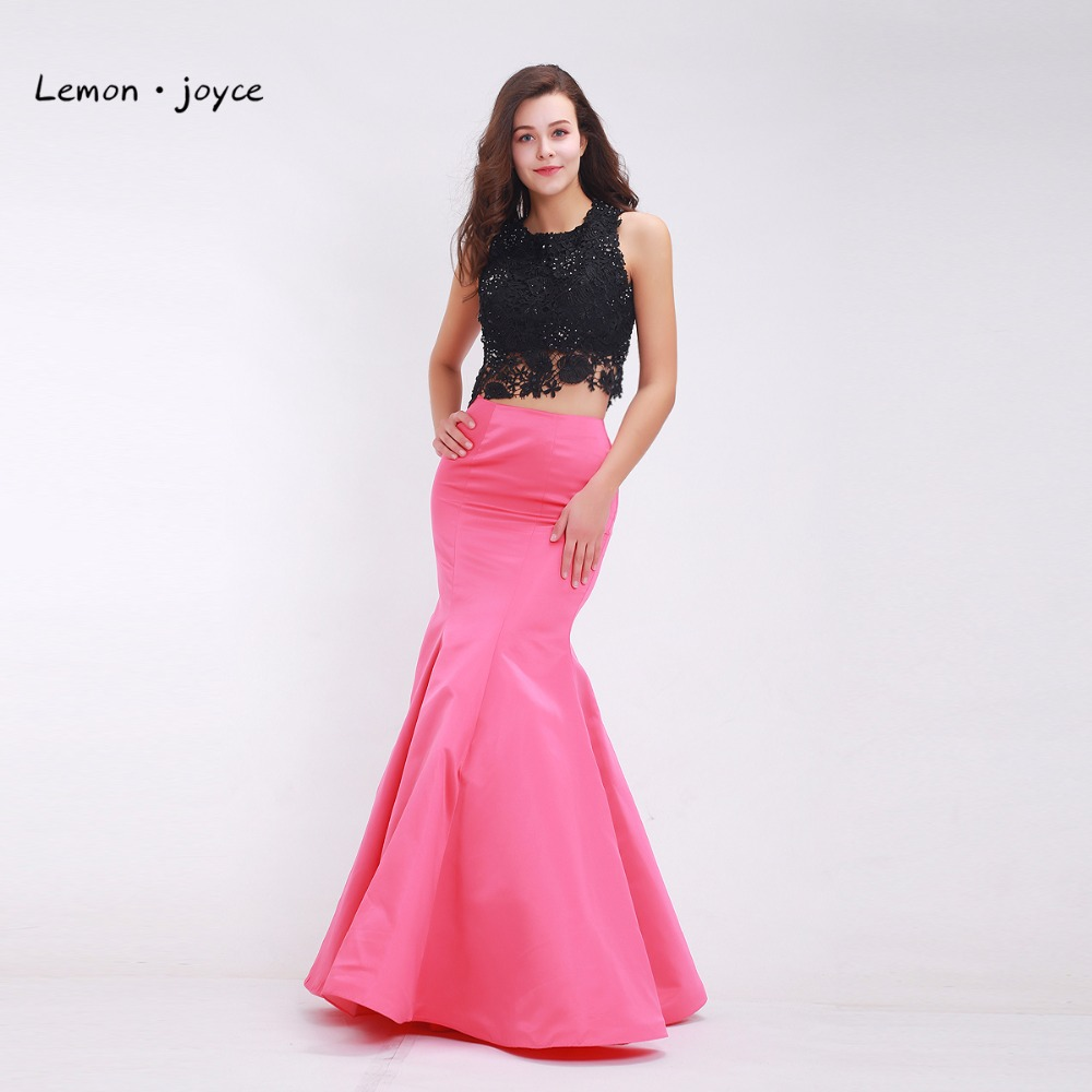 Mermaid Evening Dresses 2019 New Styles Beading Lace Crop Top Floor Length Long Formal Dresses for Women-in Evening Dresses from Weddings & Events    1