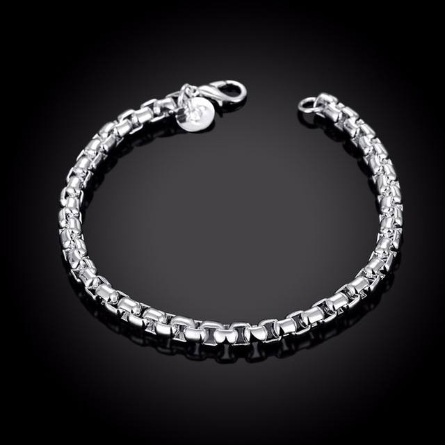 High-quality Men's Jewelry 925 stamped silver plated 4mm chains 7.5'' <font><b>19cm</b></font> <font><b>bracelet</b></font> bangle Pulseiras de Prata male gift image