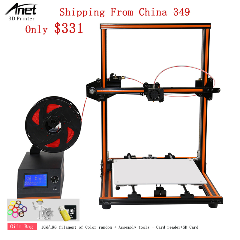 Anet 3D Printer Machine Easy Assembly 10 Minutes Large Printing Size 300*300*400MM Aluminum Frame E12 3D Printer With Filament anet e10 e12 3d printer aluminium frame easy assembly large printing size impresora 3d printer diy kit with 10m pla filament