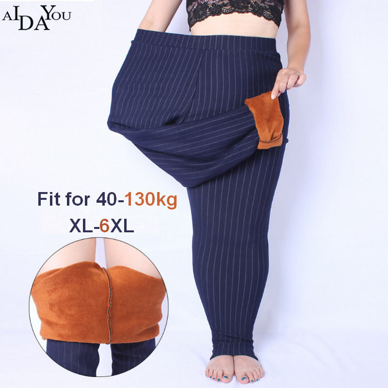 Winter fleece   Leggings   women female plus size 6xl soft Lady Slim Fitness Trousers Elastic High Waist Pencil pants ouc1523