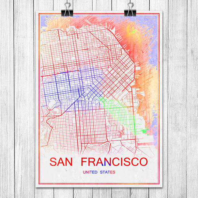 Colorful world city map san francisco usa print poster abstract coated paper bar cafe pub living