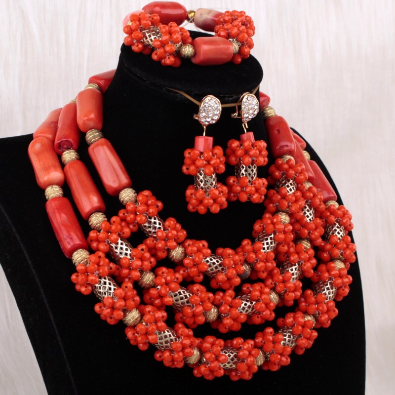 Dudo Jewelry African Jewellery Original Coral Beads Nigerian Jewelry Set 3 Layers African Jewelry Set Free Shipping Necklace SetDudo Jewelry African Jewellery Original Coral Beads Nigerian Jewelry Set 3 Layers African Jewelry Set Free Shipping Necklace Set