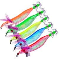 20pc Squid PRO BEROS Brand Fishing Lure Glow In The Dark Fishing Tackle 5 color 10cm 3.94/8.1g 0.29oz BKB Hook Luminous Jigs