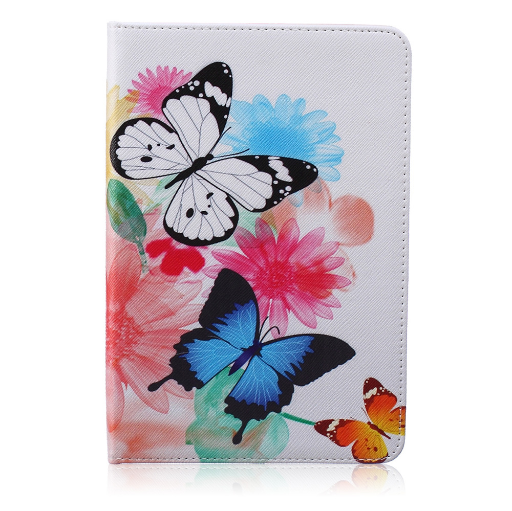 LUCKBUY Lovely Rose Butterfly Cute Giraffe Stand Design Magnetic Leather Case for ipad mini 4 Smartcover Utrathin Fashion Style