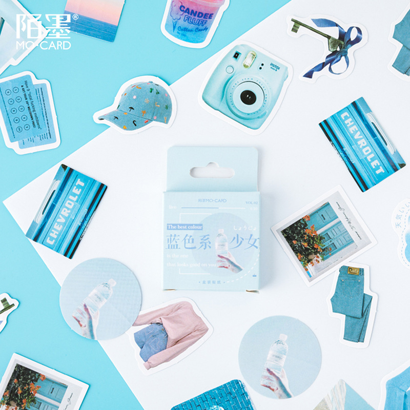 46 Pcs/pack Blue Girl Pant Cloth Bullet Journal Decorative Stationery Stickers Scrapbooking DIY Diary Album Stick Label