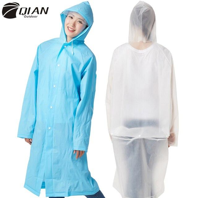 QIAN Impermeáveis Mulheres/Homens Longo Blusão Feminino Gabardina Trincheira capa de Chuva Com Capuz Poncho capa de Chuva Transparente EVA À Prova D' Água