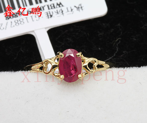 Women 18 k gold inlaid natural ruby ring Fashion luxury 4x6mm 2