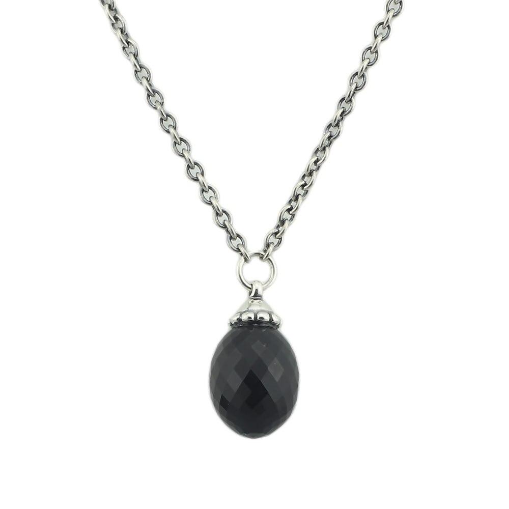 Authentique 925 En Argent Sterling Collier Fantaisie Noir Cristal Perles Fit Troll Européenne Pendentif Balancent Femme Collier Bijoux