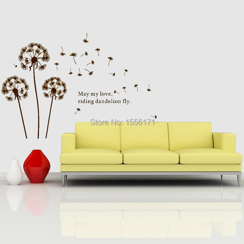 Dandelion Flower in the Wind Wall Stickers DIY Decal Art Mural Wall ...