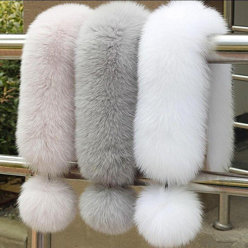 Glaforny 2018 estilo coreano novo lenço de pele de raposa feminino inverno quente real peles silenciadores scarfs com 10cm raposa pompons ímã moda