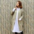 Johnature mulheres malha casacos trench bolsos 2016 outono novas roupas quentes soltos cardigans o pescoço moda trench coats