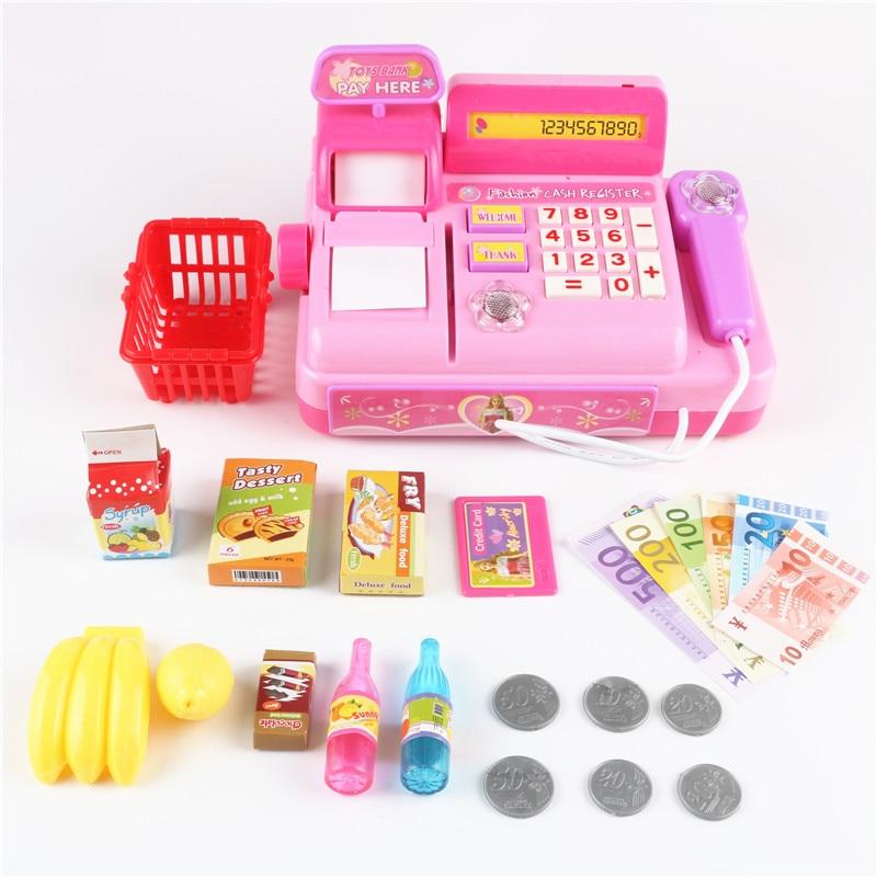 18pcs Plastic Simulated Cash Fruit Shopping Cart Supermarket Cash Register Toy Pretend Play Miniature Furniture Kids Toys