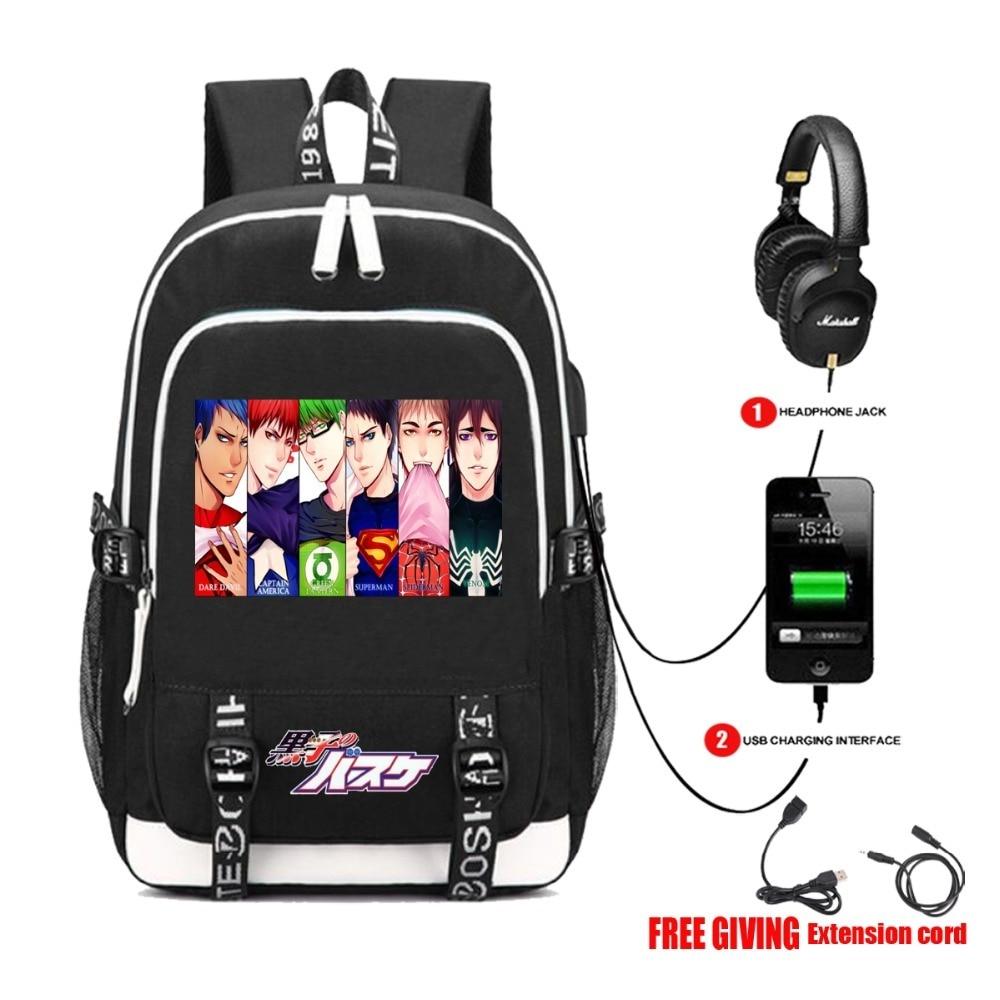 USB Charging Headphone Jack Bag Anime Kuroko No Basket Ball Backpack Student Book Unisex Laptop Bag Teenagers Packsack 10 Style