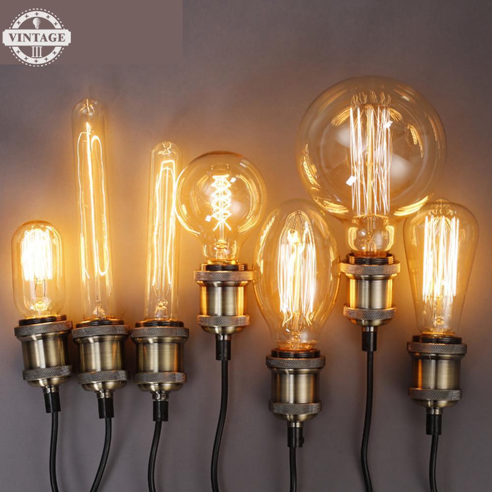 VintageIII Incandescent Filament Bulb Lighting Retro Edison Light Bulb Edison Bulb E27 220v 40w St64 A19 T45 G80 G95 G125