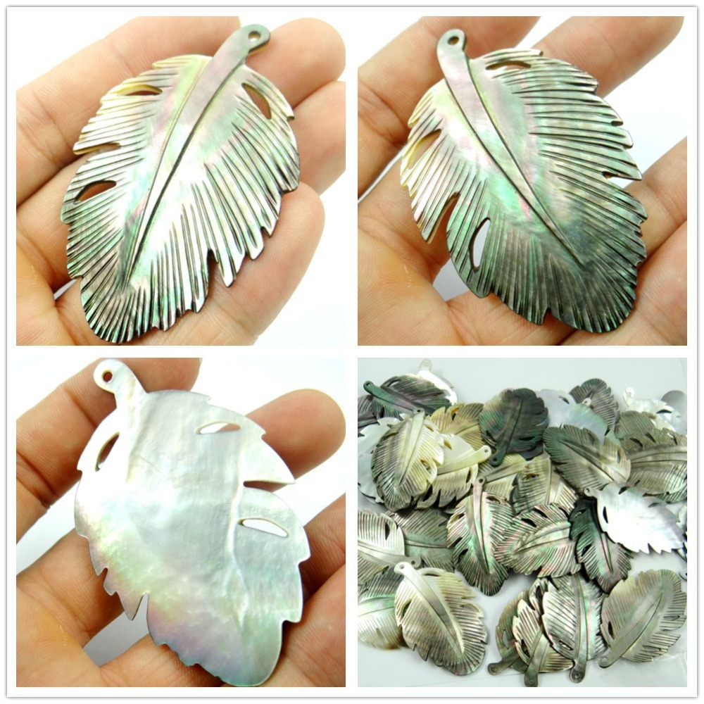 New Fashion Natural Shell Maple Leaves Charms Pendant Necklace For Women Jewelry Making Jewelry DIY Findings 3Pcs Free Shipping