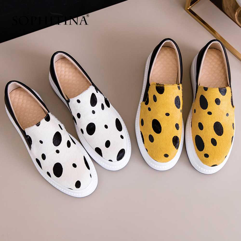SOPHITINA Casual Horsehair Flat Platform Flats Polka Dot Slip On Round Toe Hot Sale Shoes Handmade