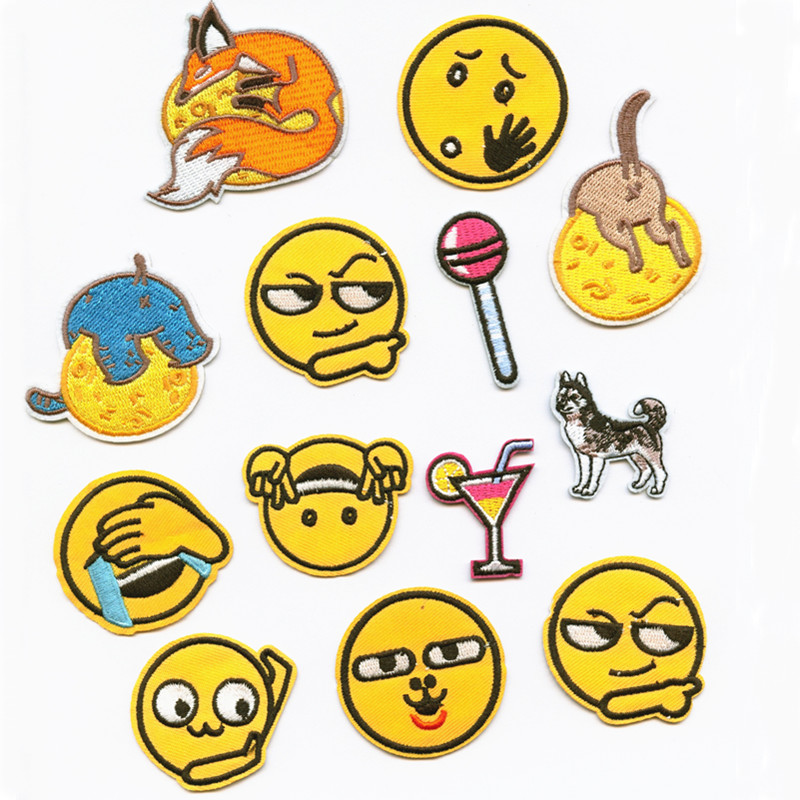 Expression Smiling Face Fashion Patchwork Patch Embroidered Patches For Clothing Iron-On For Close Shoes Bags Badges Embroidery