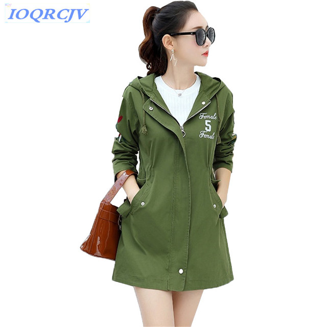704381080b941 Hooded Trench Coat Women Spring Medium length Embroidery Outerwear Plus size  Slim Students Windbreaker Casual Tops