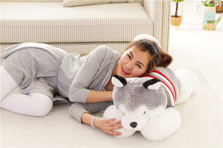 lovely plush lying Husky dog doll cute stripe sweater husky dog doll gift about 80cm 0175