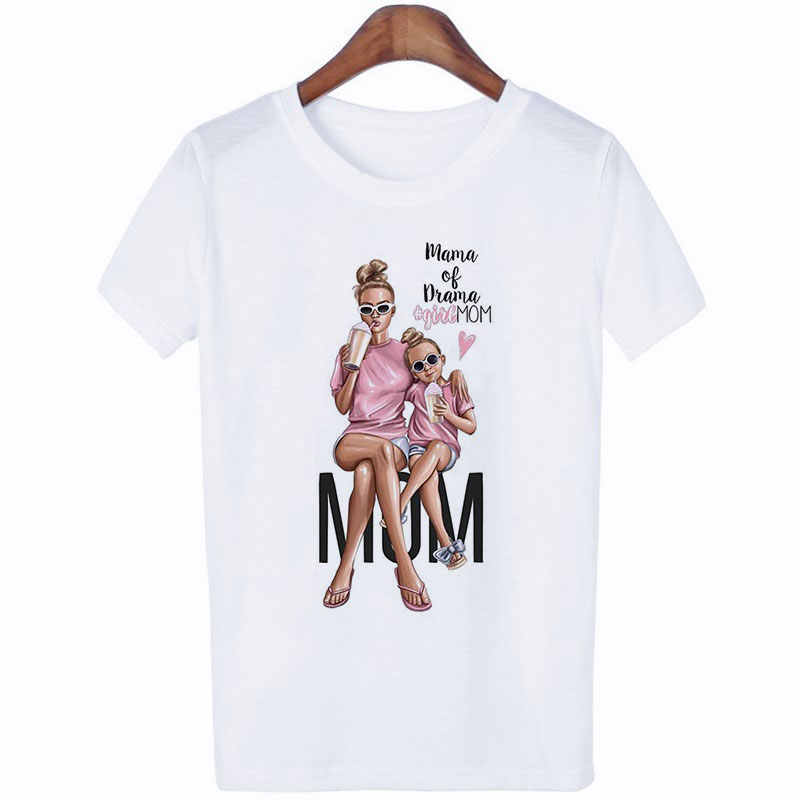 Vestiti delle donne 2019 di Estate di Moda Della Stampa di Amore Super-Mamma Maglietta Harajuku Kawaii Casual Confortevole Materna Femminile Eterno Magliette e camicette