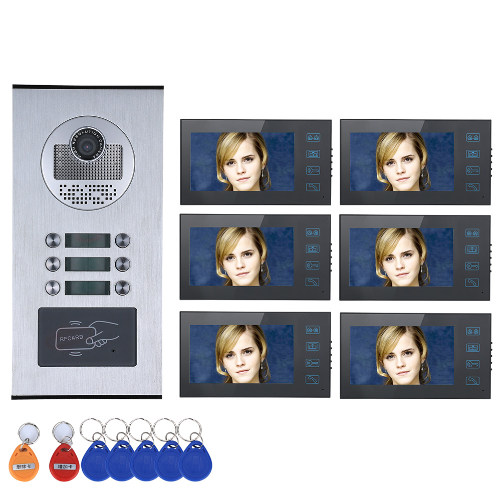 7 Inch TFT Monitor  Intercom 1V6  Video Door Phone  ID Card Access Control System