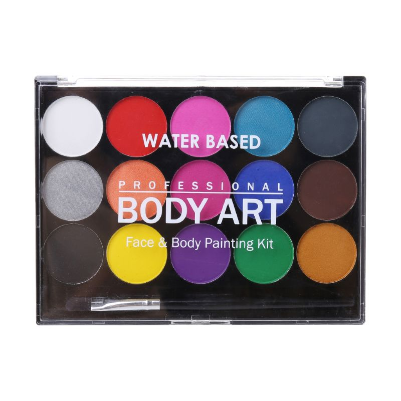 15 Colors Non Toxic Water-soluble Body Paint Pigments Makeup Face Painting Kit With Brush For Christmas Fancy Carnival Party15 Colors Non Toxic Water-soluble Body Paint Pigments Makeup Face Painting Kit With Brush For Christmas Fancy Carnival Party