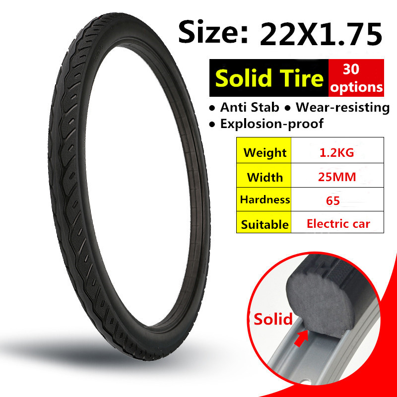 22*1.75 Electric Car Solid Tire Free Inflatable Solid Tyre 22X1.75 for 22 Inch Without Inner Tube 22x1.75 Electrombile Tires|solid tires|tire solid|22 tire - title=