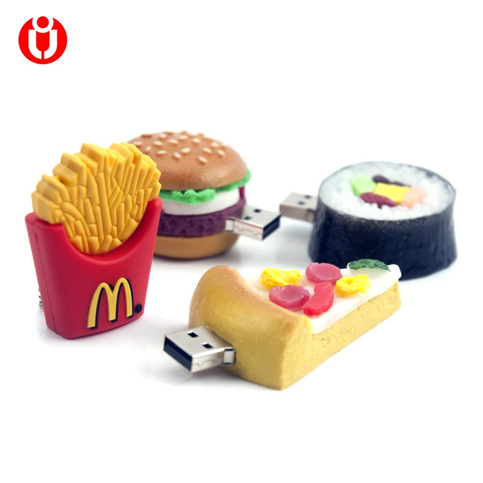 128GB Pen drive, 4GB 8GB 16GB 32GB 64GB usb French Fries,Pizza,Sushi,Hamburger Shape USB Flash USB2.0 Flash Drive pendrive thumb(China)