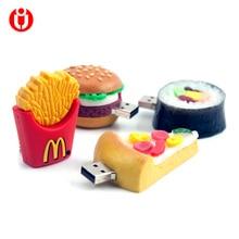 128 ГБ флэш-накопитель, 4 GB/8 GB/16 GB/32 GB/64 GB usb картофеля-фри, пицца, суши, в форме гамбургера USB флэш-память USB2.0 флеш-накопитель Флешка с углублением под большой палец