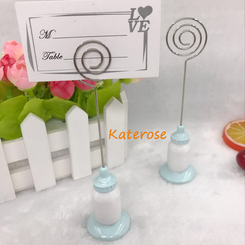 (100pcs/LOT)FREE SHIPPING +Classic Blue Baby Bottle Place Card Holder/Name Holders Baby Boy Birthday Party Table Centerpiece
