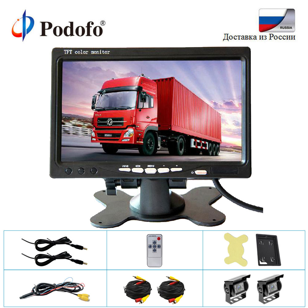 Podofo 2 x Backup Camera 18 IR LED Night Vision Waterproof Rearview Reverse Back Up Camera+7 LCD Rear View Monitor For Truck RV podofo dual backup camera and monitor kit for bus truck rv ir night vision waterproof rearview camera 7 lcd rear view monitor