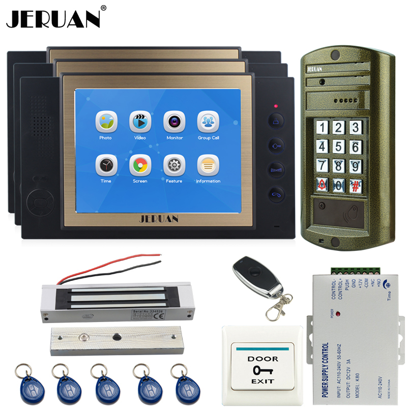 JERUAN 8 inch TFT LCD Color Video Door Phone Intercom System kit Metal Waterproof password keypad HD Mini Camera 8GB Card 1V3 jeruan 8 inch tft video door phone record intercom system new rfid waterproof touch key password keypad camera 8g sd card e lock