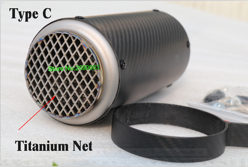 ID:51/54/61/63/65mm Titanium Alloy+Carbon Fiber Customized Motorcycle Exhaust Pipe Motorbike Muffler Escape with Accesoriess