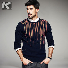 Big Sale Mens Fashion Sweaters 100% Cotton Striped Blue Knitted Brand Clothing Man's Knitwear Pullovers Knitting Clothes 16908