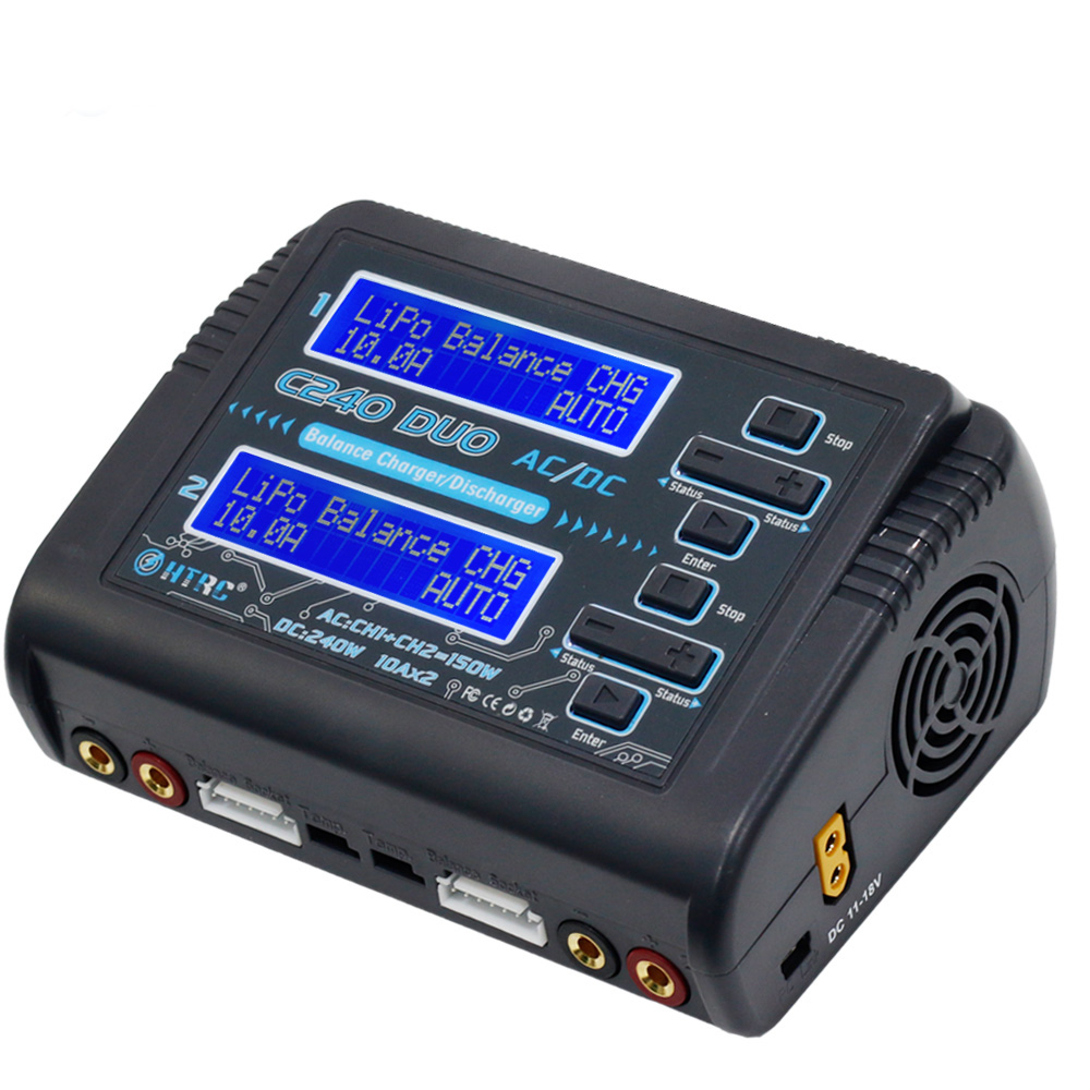 HTRC LiPo LiHV LiFe Lilon NiCd NiMh Pb batería C240 DUO AC 150 W/DC 240 W Dual canal 10A RC Balance cargador descargador