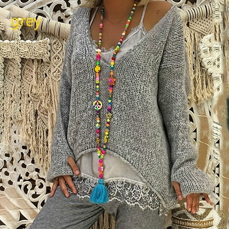 Autumn Women Knitting Sweaters Pullovers For Female Clothes Tops Korean Style V-Neck Irregular Casual Loose Sweater