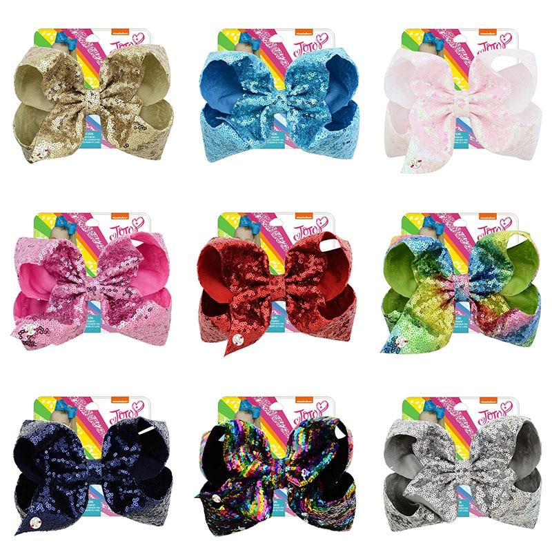 "7/"" Large Rainbow Glitter Hair Bow With Clip For Girls Kids Handmade Hairgrips"