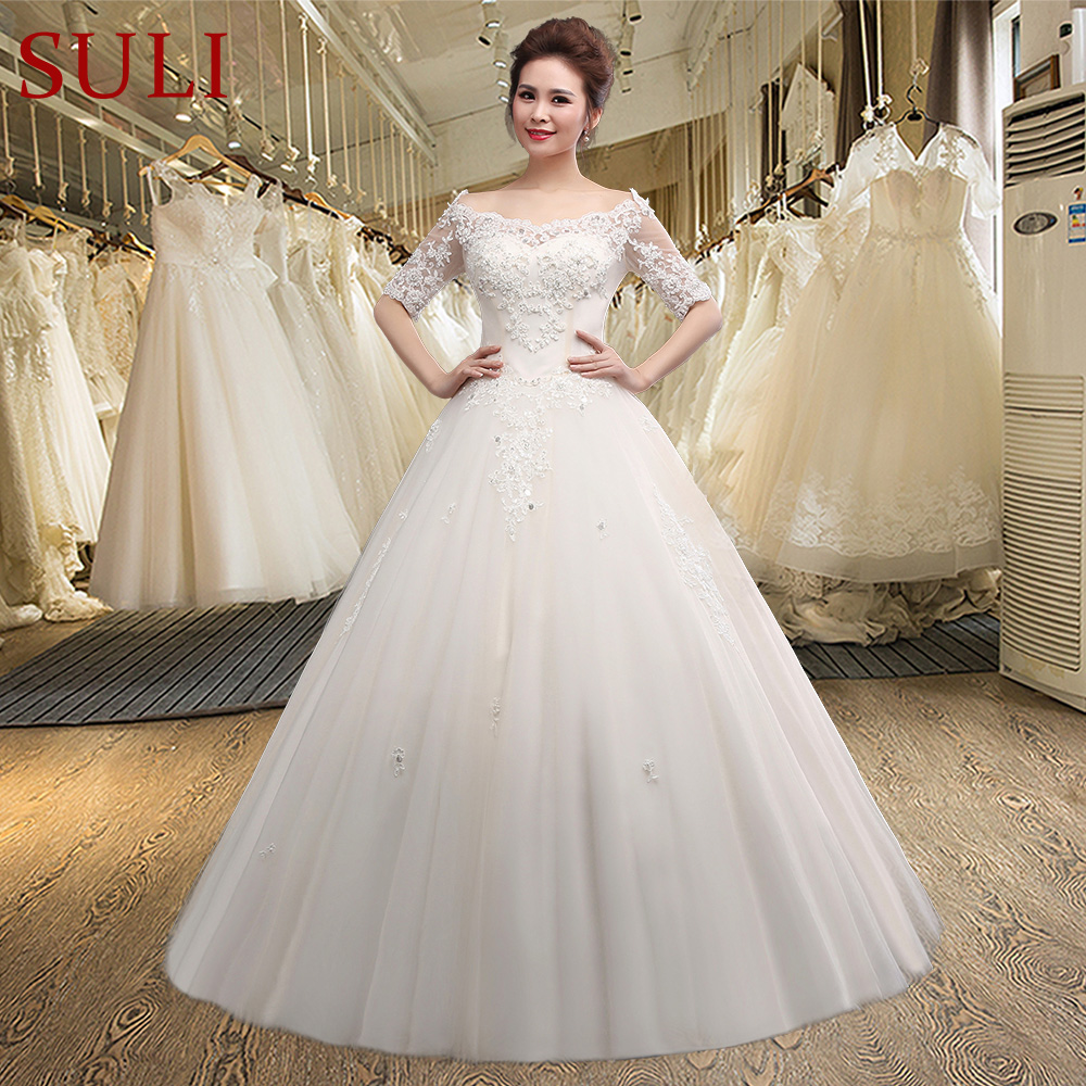 SLD001 New Arrival Half Sleeve Tulle Lace Appliques Floor Length Wedding Dress