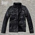 2017 Черный подлинная кожаная куртка пальто мужчины корова кожаные куртки мотоцикла moto chaqueta hombre весте cuir homme cappotto LT1194